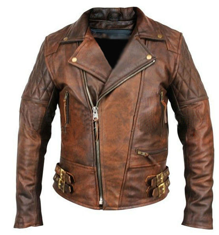 [ 50% OFF ] EXCLUSIVE CLASSIC DIAMOND VINTAGE BIKER JACKET- 100% GENUINE LEATHER - AXEOP