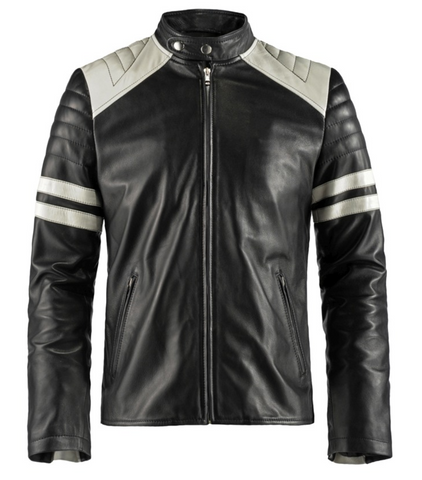 [ 50% OFF ] FIGHT CLUB MENS MAYHEM BIKER LEATHER JACKET - 100% GENUINE LEATHER - AXEOP