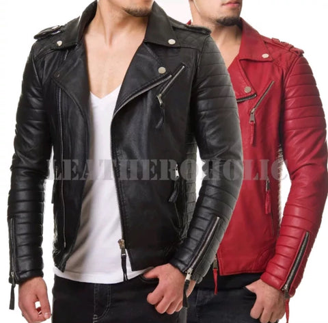 [ 50% OFF ] EXCLUSIVE BLACK AND RED MEN'S LEATHER JACKETS - 100% GENUINE LEATHER - AXEOP