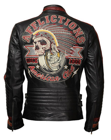 [ 50% OFF ] LJM MEN'S MOTOR CLUB BIKER LEATHER JACKET - 100% GENUINE LEATHER - AXEOP