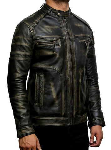 [ 50% OFF ] MEN BLACK BIKER VINTAGE CAFE RACER LEATHER JACKET - 100% GENUINE LEATHER - AXEOP