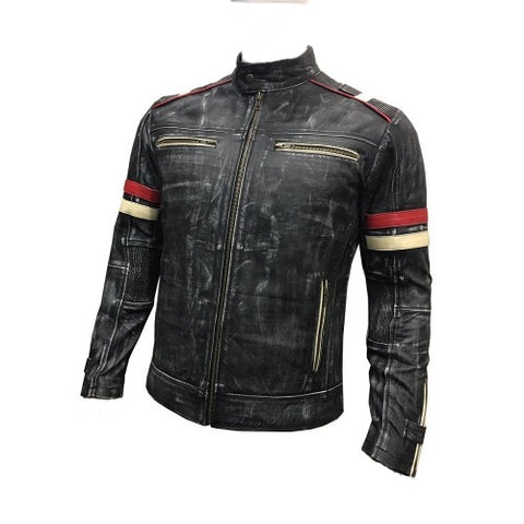 [ 50% OFF ] MENS's BIKER VINTAGE MOTORCYCLE CAFE RACER RETRO MOTO DISTRESSED LEATHER JACKET - 100% GENUINE LEATHER- FREE SHIPPING - AXEOP