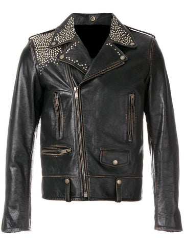 [ 50%OFF ] MEN'S  BIKER DISTRESSED LEATHER JACKET - 100% GENUINE LEATHER-FREE SHIPPING - AXEOP