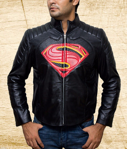 [ 50% OFF ] SUPERMAN DAWN OF JUSTICE BLACK SHEEP LEATHER JACKET - 100% GENUINE LEATHER - AXEOP