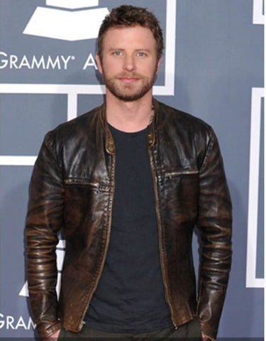 [ 50% OFF ] DIERKS BENTLEY GRAMMY AWARDS DISTRESSED BROWN LEATHER JACKET - 100% GENUINE LEATHER - AXEOP