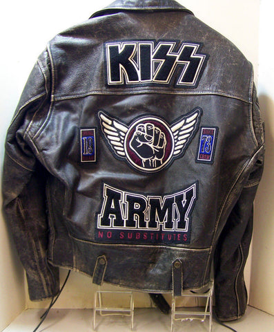 [ 50% OFF ] KISS ARMY DISTRESSED LEATHER BIKER-STYLE MOTORCYCLE JACKET - 100% GENUINE LEATHER - AXEOP