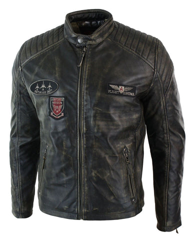 [ 50% OFF ] MEN'S WASHED AIRFORCE BIKER JACKET- 100% GENUINE LEATHER: DISTRESSED - AXEOP