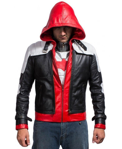 [ 50% OFF ] BATMAN ARKHAM KNIGHT HOODED LEATHER JACKET - 100% GENUINE LEATHER - AXEOP