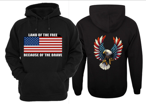 LAND OF THE FREE BECAUSE OF THE BRAVE HOODIE - FREE SHIPPING - AXEOP