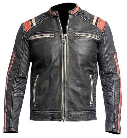 [ 50% OFF ] MEN'S BIKER DISTRESSED  LEATHER JACKET - 100% GENUINE LEATHER- FREE SHIPPING - AXEOP