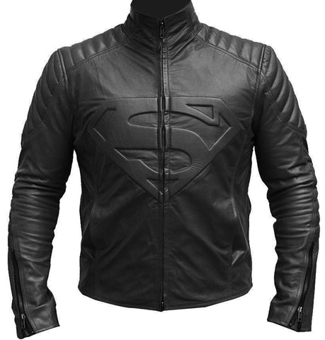 [ 50% OFF ] SUPERMAN MAN OF STEEL SHIELD BLACK LEATHER JACKET - 100% GENUINE LEATHER - AXEOP