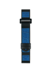 Caoutchouc black and blue alligator inlay black and blue stitching