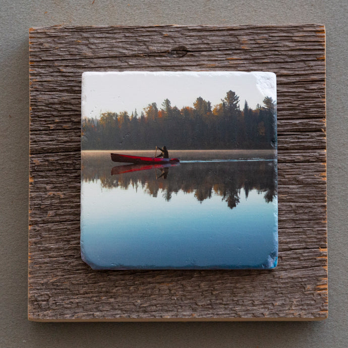 The Red Canoe - On Barn Board 0129