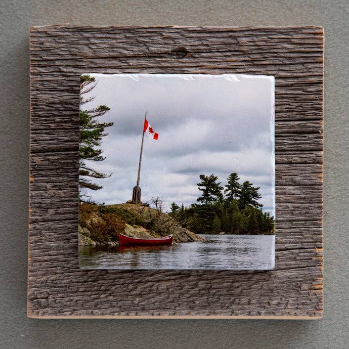 Georgian Bay Red Canoe - On Barn Board 0224