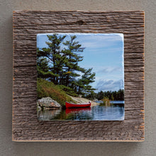 Load image into Gallery viewer, Georgian Bay Red Canoe - On Barn Board 0731