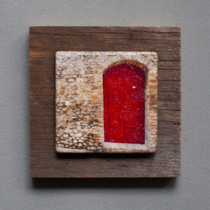 Red Door - On Barn Board 9387