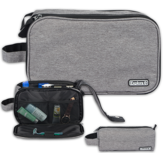 Explora Travel Toiletry Bag Set For Men & Women Contains 2 Bags Dopp Kit Shaving Waterproof Toiletries Bathroom Organizer Mans Grooming Travel Bags