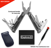 Explora Multitool | Multi tool Knife with Scissors and Belt Pouch Gift Set. New Design - Contoured Handles for Comfortable Grip. For Hiking, Camping, Survival, Travel, Fishing, Bug Out Bag