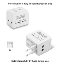 Explora Worldwide Travel Adapter / Dual USB Ports / Works in over 150 Countries / Travel Case + FREE 3-in-1 USB Extension Cable