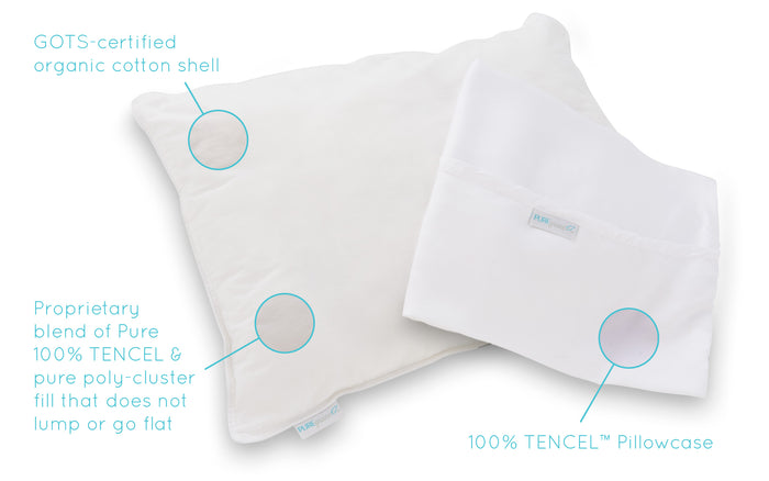 GOTS Certified Organic Toddler Pillow + 100% TENCEL Pillowcase