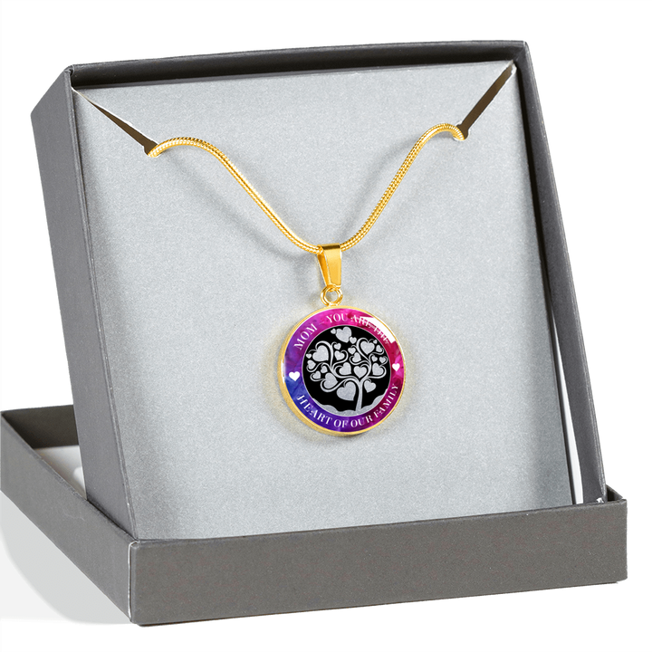 Mom Heart of Our Family Luxury Necklace - Round - - MatZul