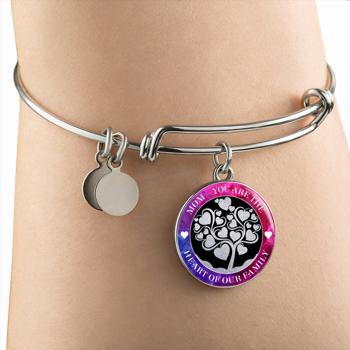 Mom Heart of Our Family Luxury Bangle - Round - - MatZul