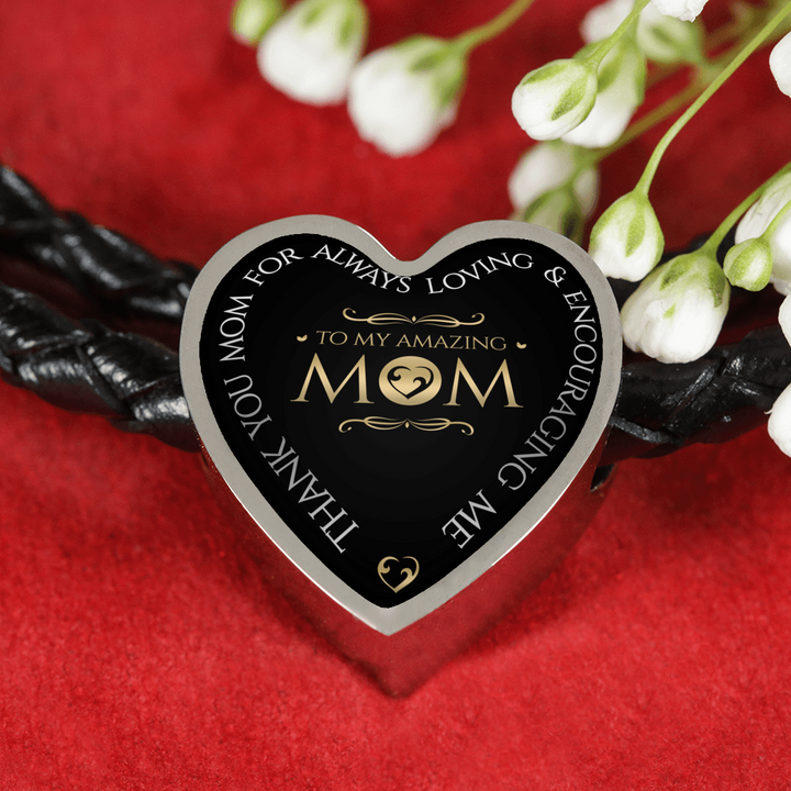 Amazing Mom Woven Braided Bracelet & Charm - Heart - - MatZul