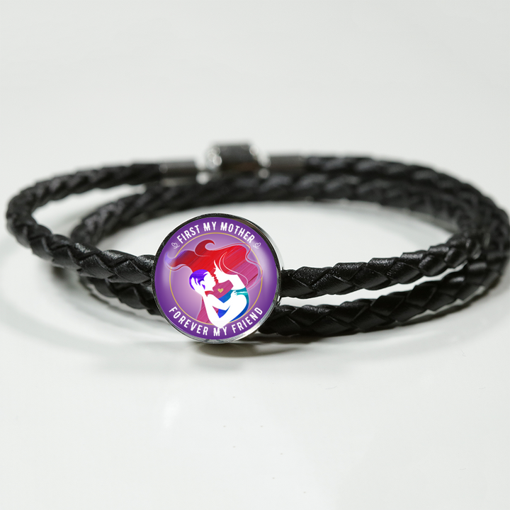 First My Mother Woven Leather Charm Bracelet - Round - - MatZul
