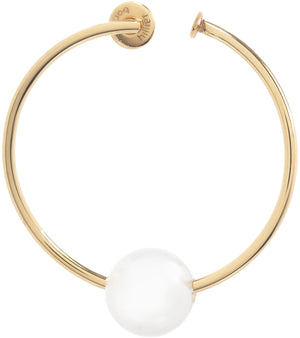 SMALL GOLD HOOP EARRING WITH PEARL