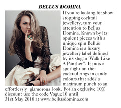 Bellus Domina jewellery featured in Vogue