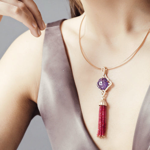 Amethyst and Garnet Tassel Necklace