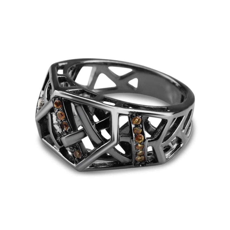 Rhodium Plated Crossover Citrine Ring