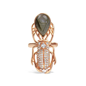 Gold-plated Silver Labradorite Beetle Ring