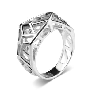 White Gold Plated Crossover Ring