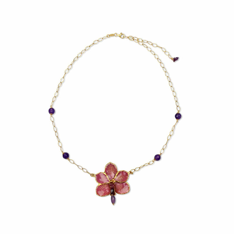 Ascocenda Orchid and Amethyst Necklace