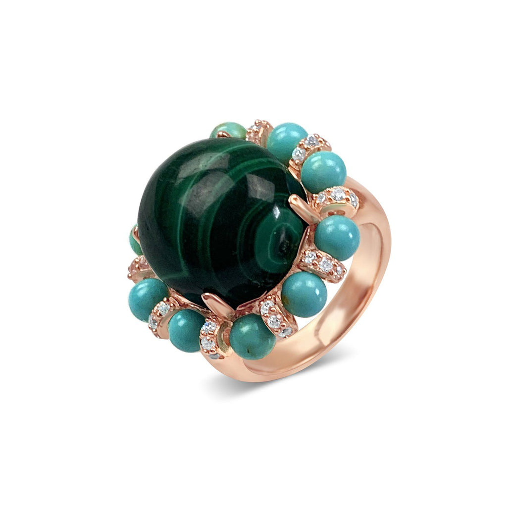 Sterling Silver Malachite Cocktail Ring