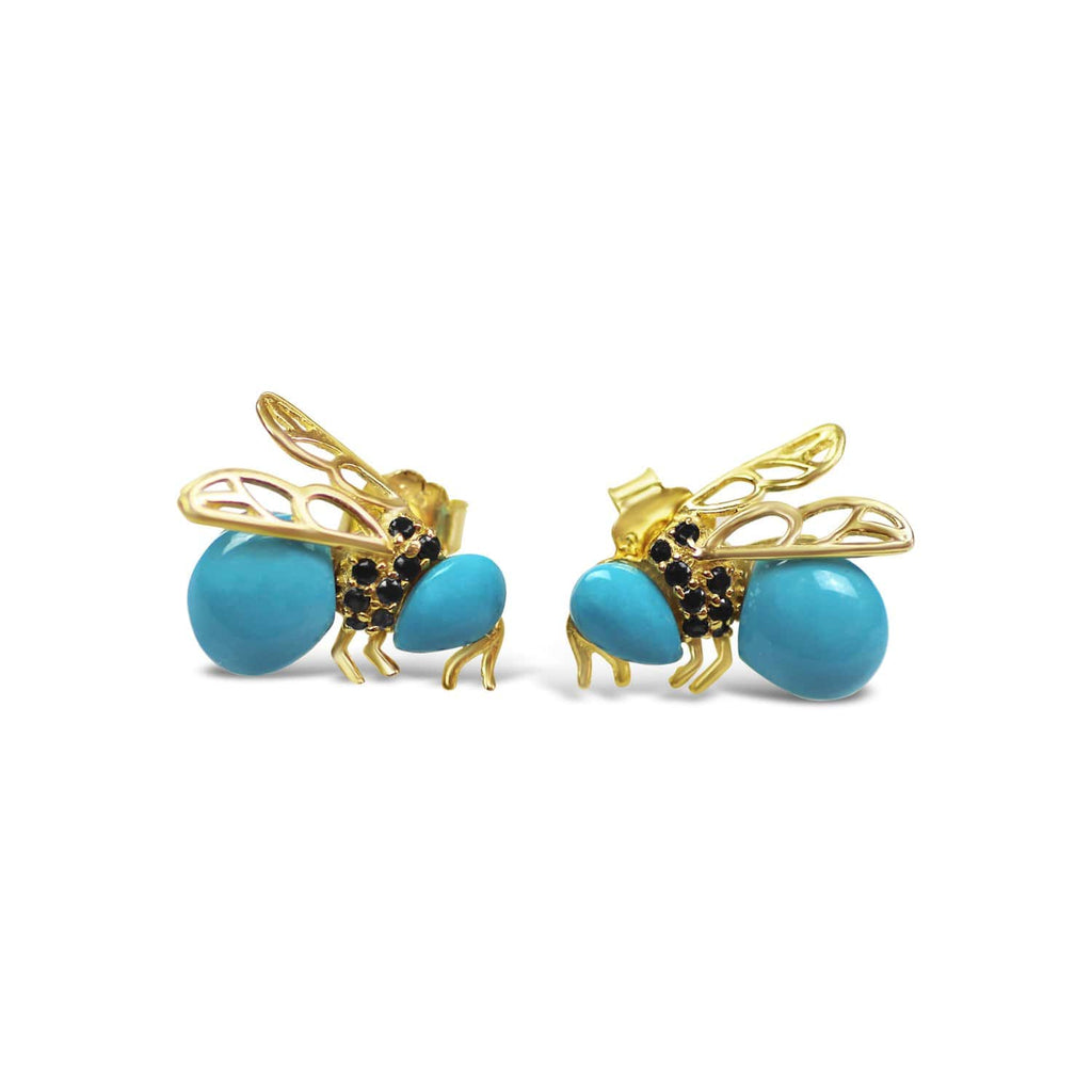 Sterling Silver Bee Earrings- Gold-plated AG925 Sterling Silver, Cubic Zirconia, Synthetic Turquoise