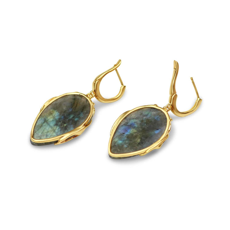 Labradorite Owl Earrings