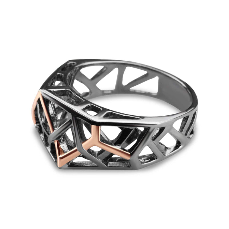 Silver Rhodium Plated Crossover Ring