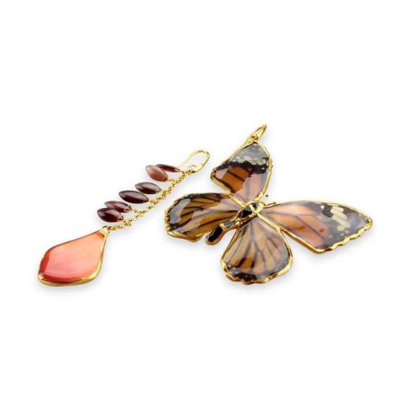 Rose Petal and Butterfly Earrings