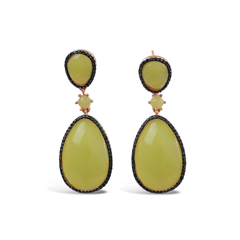 Sterling Silver Lemon Jade Earrings