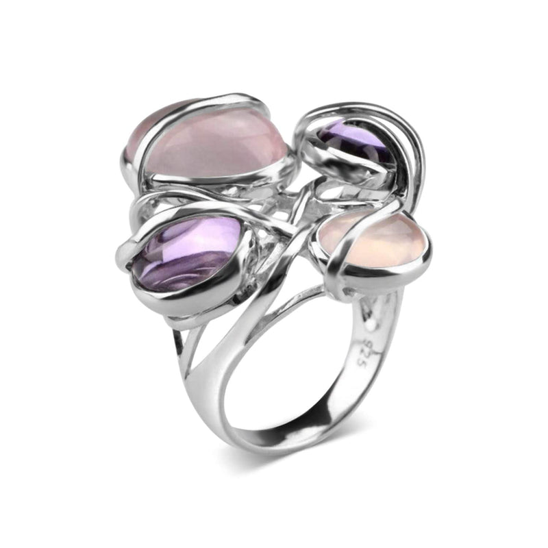 White Gold Plated Multiple Stone Cocktail Ring