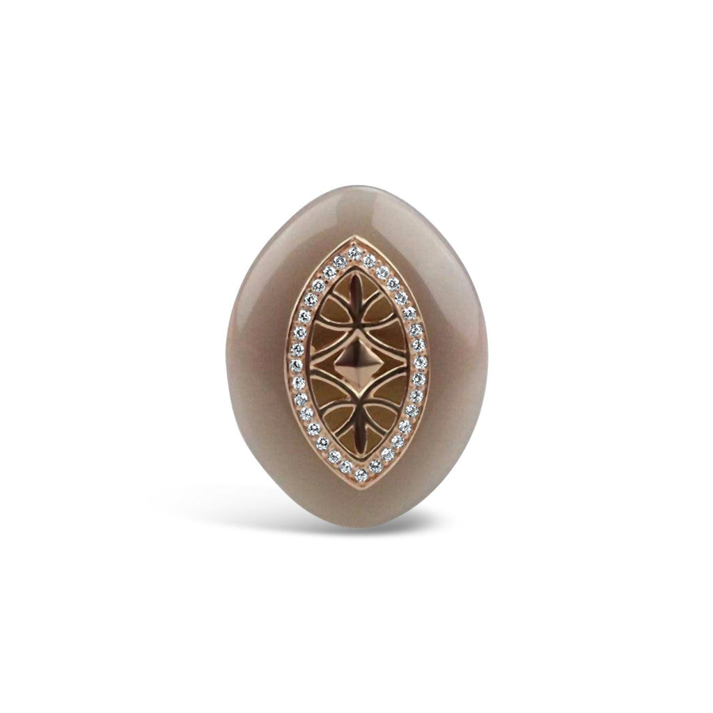 Gold Plated Grey Agate Ring