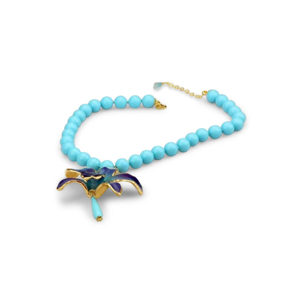 Natural Orchid Turquoise Necklace