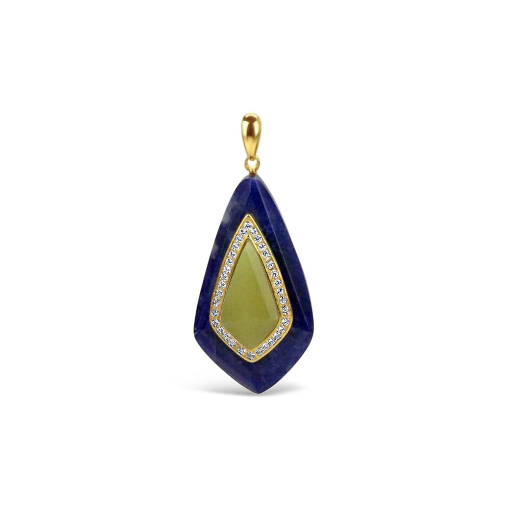 Gold Plated Lemon Jade Pendant