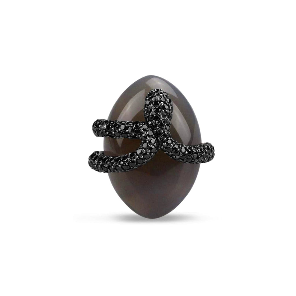 Agate Umbra Sea Snake Cocktail Ring