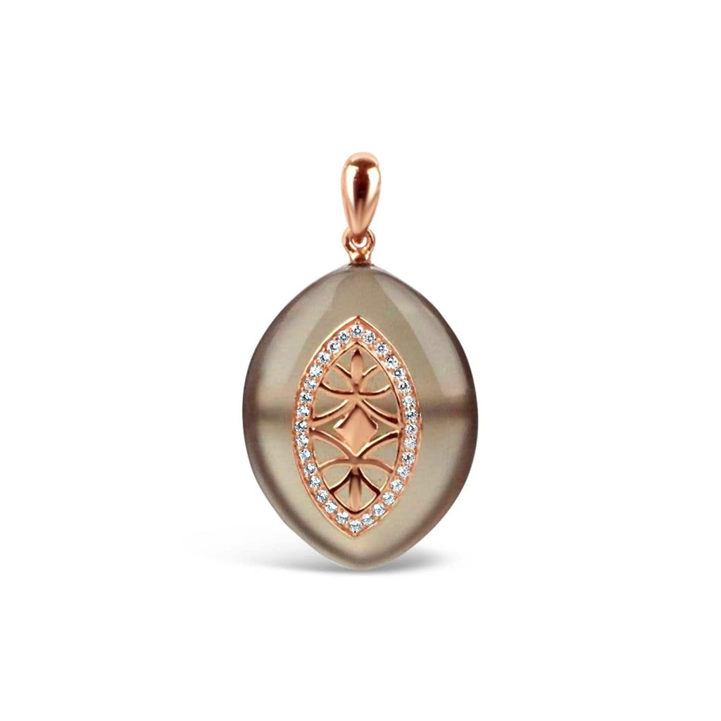 Gold Plated Grey Agate Pendant