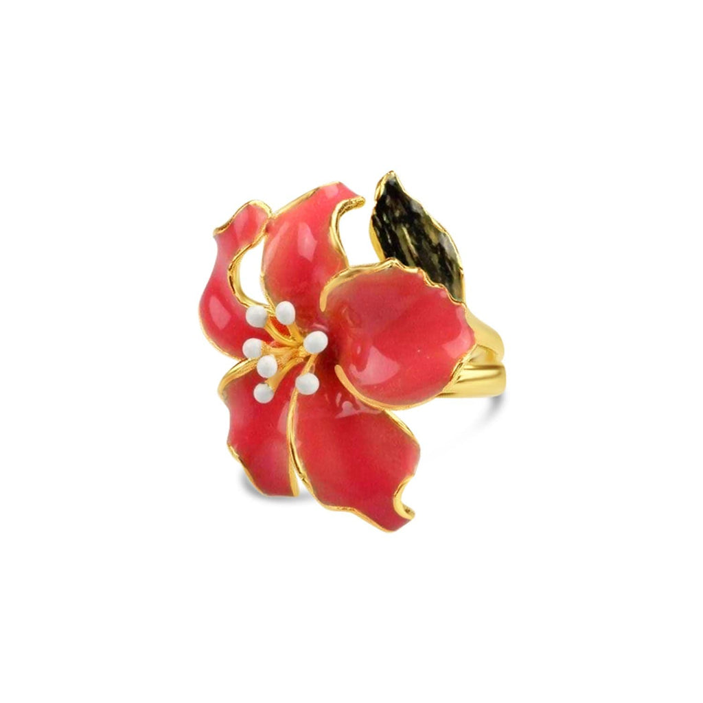 Sterling Silver Enamel Orchid Ring