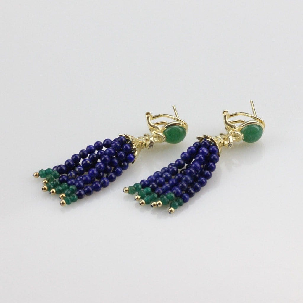 Sterling Silver Lapis Tassel Earrings
