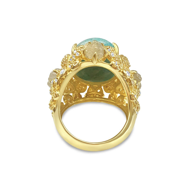 Gold Plated Amazonite Cocktail Ring